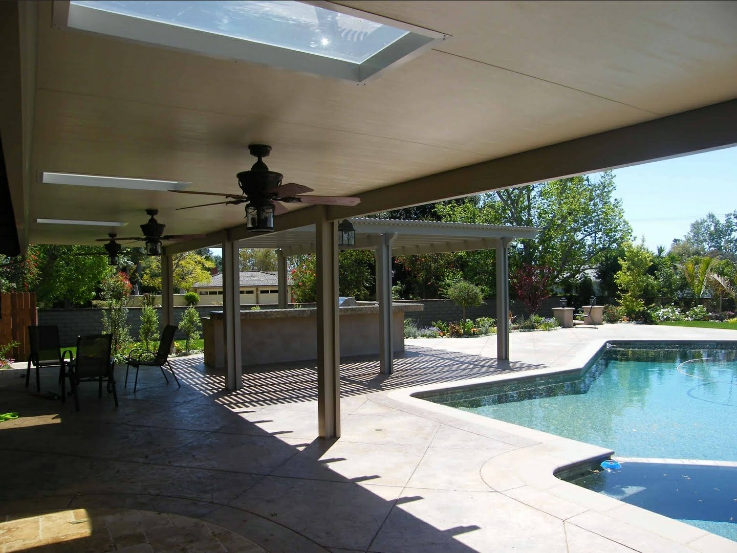 Sandstone Patio Cover Awning Houston with skylights