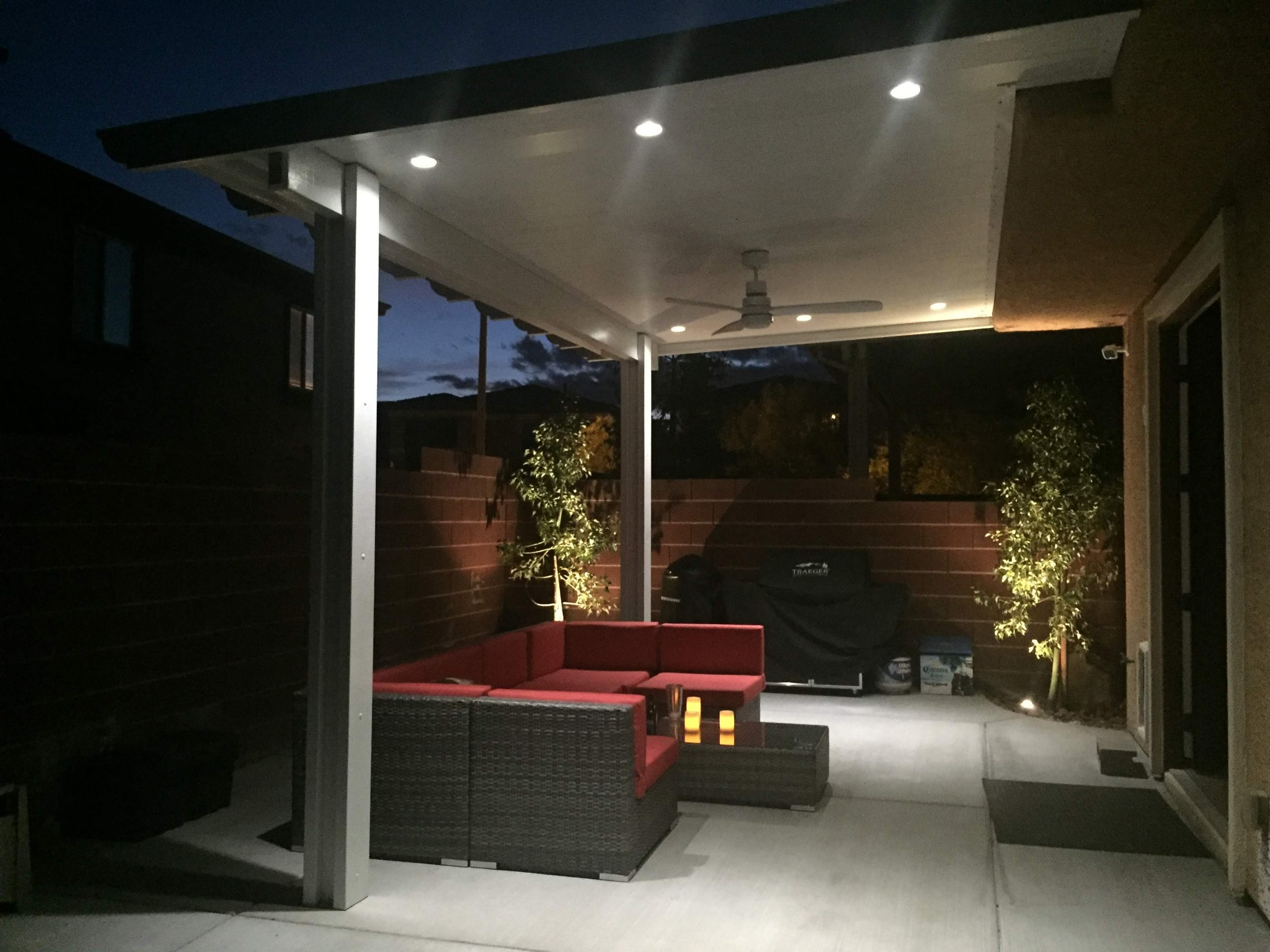 Patio Cover awning at night in Houston